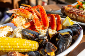 Crab legs and mussels