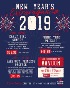 Flyer for 2019 New Years Extravaganza Event