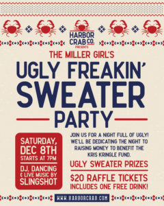 The Miller Girl's Ugly Freakin' Sweater Party Flyer