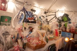 A photo of gifts collected for deserving families.