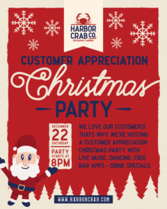 Customer Appreciation Christmas Party flyer.