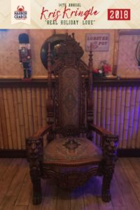 A photo of the chair that Santa will be seated in.