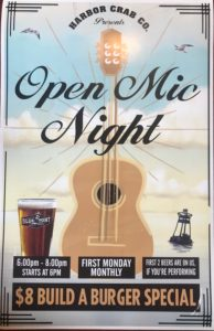 Open Mic Night flyer, $8 Build a Burger Special, 6pm - 8pm, First Monday Monthly and if you're performing, first two beers are on us.