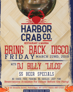 Bring Back Disco flyer, with DJ Billy Lilco on March 22nd 2019, $5 beer specials.