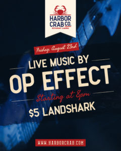 Flyer for live music with OP Effect on August 23rd at 8pm with $5 LandSharks