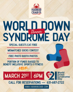 World Down Syndrome Day Dinner flyer on March 21st at 6pm.