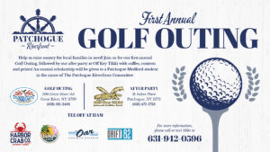 First Annual Golf Outing flyer, raising money for local families in need on Wednesday, April 17th at 11am.