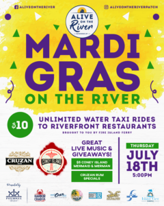 Flyer for Mardi Gras on the River on July 18th at 5pm.