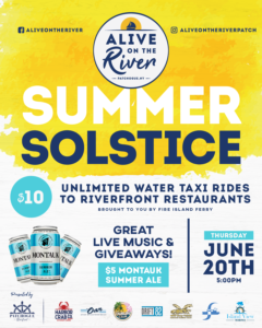 Flyer for Alive on the River Summer Solstice on Thursday, June 20th at 5pm