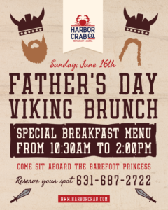 Flyer for Father's Day Viking Brunch with a special breakfast menu from 10:30am to 2pm