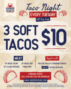 Tuesdays are all about the tacos! We'll have $3 tacos with your choice of meat (diced steak, cajun chicken, diced veggies, fried fish) and topped with pico de gallo and cheddar cheese! Add sliced avocado for $1!