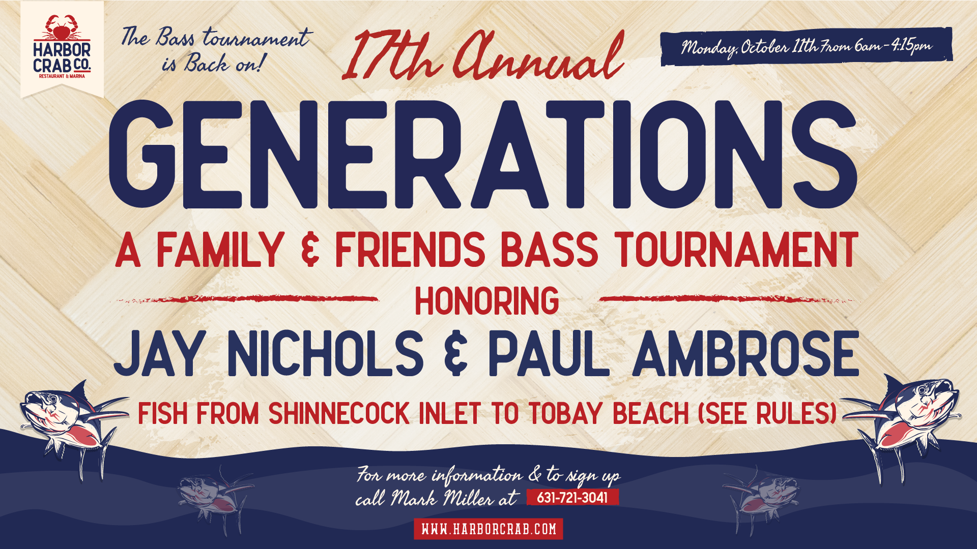 17TH Annual Generations Fishing Tournament Oct. 11th